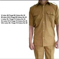 Baju Celana Seragam Cokelat PHD Dinas Guru PNS Ukuran M L XL XXL Murah