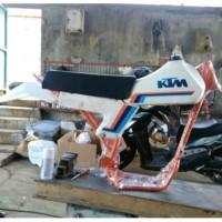 PAKET RANGKA KTM KLASIK CUSTOM PLUS BODYSET KTM VINTAGE DAN SWING ARM