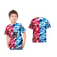 Kaos T-shirt Anak Lengan Pendek CAMO BAPE SHARK 3D Fullprint Art 1