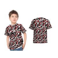 Kaos T-shirt Anak Lengan Pendek CAMO BAPE SHARK 3D Fullprint Art 3