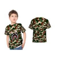 Kaos T-shirt Anak Lengan Pendek CAMO BAPE SHARK 3D Fullprint Art 2