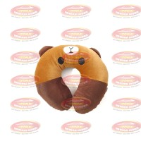 Bantal Leher Bantal U Neck Pillow Brown Line Coklat SNI Berkualitas