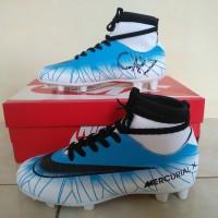 Sepatu Bola Anak Nike Mercurial X CR7 High Biru Putih Import