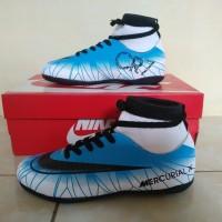 Sepatu Futsal Anak Nike Mercurial X CR7 High Biru Putih Import