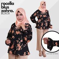Blus Zahra by Rocella   Busana Muslimah - Atasan Kekinian - Black, S-M