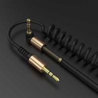 Kabel Audio AUX 3.5mm Spring L Jack 1.5m Gold Plated Male To Male Per