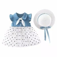 Dress baby polkadot jeans kece plus topi cantik