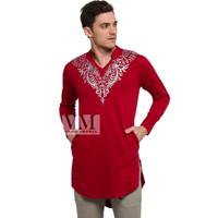 VM Baju Koko Jumbo Gamis Koko Panjang merah Maroon - GK-03 - MerahMaroon, 3XL