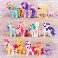figure my little pony set 12 6-7cm hiasan kue ultah topper cake kuda