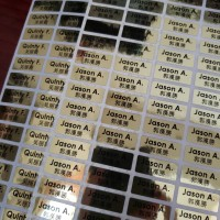 Label Nama Stiker Waterproof Sticker Emas Gold Glossy Polos SMLXLXXL