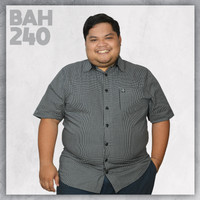 Kemeja Katun Kotak Kotak HItam Putih Pria Gendut 5XL Super Kece Bigsiz