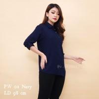 Kemeja Polos Biru Dongker PW01/Kemeja Wanita Navy/Basic Shirt