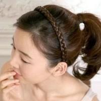 Harga 12 pcs - Grosir - Bando / Bandana Wig korea - Hitam