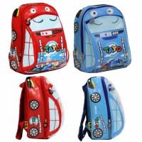 Tas ransel anak sekolah Paud/TK mobil lucu import tayo biru dan merah