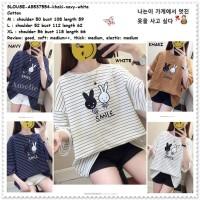 Baju Atasan Wanita Kaos Garis Blouse Korea Import AB537554 Putih Jumbo
