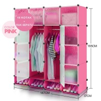 Lemari pakaian plastik portable rak susun lemari baju anak 16 pintu+RS