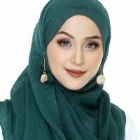 aksesoris muslim - anting hijab SYR bulat mini rantai gold