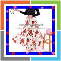 Rok Panjang Payung Muslimah Lebar Motif Bunga Flowery Umbrella Skirt