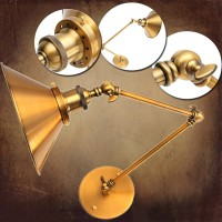 Top Brand Vintage E27 Swing Arm Brass Wall Lamp Sconce Living Room