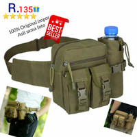 R135 Tas Pinggang Militer Kanvas Dengan Tempat Botol Tactical Army
