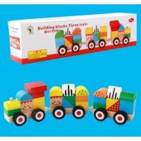 ME240 Mainan Kayu Edukatif Anak Kereta Api Susun Balok Geometri Tarik