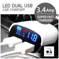 Car Charging Super Fast LED Dual Port USB 3.4A Charger HP Di Mobil