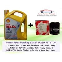 Paket SHELL HELIX HX6 10W-40 & Filter Oli Mobil TOYOTA AVANZA & RUSH