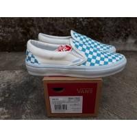Sepatu Slip On Wanita Vans Checkerboard Blue White Premium BNIB