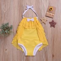 Baju Renang One Piece Halter Neck Warna Polos U Bayi Perempuan / Musim