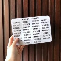 stiker label nama bening transparent transparan