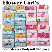 FLOWER Cart's Bodysuit Jumper 5in1 Lengan Pendek Baju Bayi
