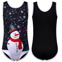 Baju Senam Gymnastic Rhythmic Leotard Katun Tank Printing Anak Snowman