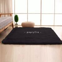 Karpet Bulu Ukuran 150x100cm Tebal 1cm + Alas Bintik Super ( Hitam )