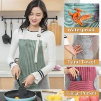 KS190 Apron Celemek Waterproof Oil Proof with Towel Tebal Fashionable
