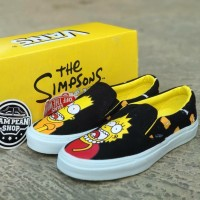 Sepatu Vans Slip ON X SIMPSONS BART LISA black yellow Original Premium