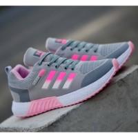 Sepatu Sneakers Wanita Adidas Neo Women Abu Pink Casual Import