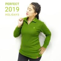 Kaos polo wanita lengan panjang hijau daun