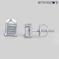 14K WhiteGold 0.07CT Anting Natural Diamond Berlian Asli Eropa Earring