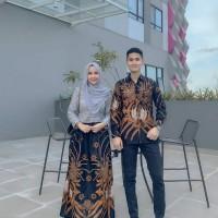 Baju Couple Gamis/Gamis Batik Muslimah/ Kemeja pria JTR Brukat import