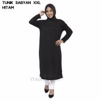 Baju Tunik Sabyan Atasan XXL Jumbo Murah Wanita Muslim Kekinian - Hitam, XL
