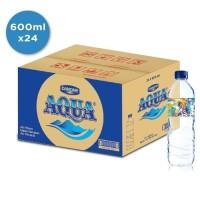 Aqua 600ml 1 Kardus isi 24 botol air mineral harga grosir murah