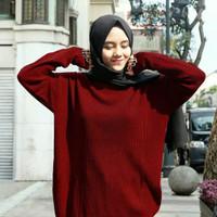 Outer Wanita Baju Rajut Boxy Jumbo Sweater Premium