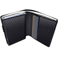 Carbon Fiber Leather Wallet with Anti RFID Pop Up Card Holder - Black