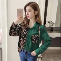 Kemeja Army Loreng Wanita Twotone Baju Best Seller Shirt 4832