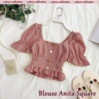 blouse wanita crop top baju kotak kotak square bluss anak remaja