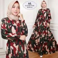 gamis armi army loreng maxi maxy dress baju muslim muslimah seragam