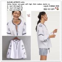 AB750372 Baju Atasan Boho Bohemian Wanita Blouse Korea Import Putih