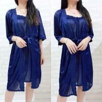 Kimono Set Tricot 2in1 Lingerie - Baju Tidur Wanita - Daster Bumil