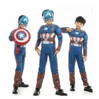 Kostum Superhero Anak Baju CAPTAIN AMERICA + Topeng & Tameng (1 set)