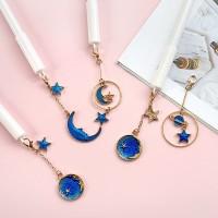 Pulpen Gel Unik / Pen Gel Motif Bulan Bintang Biru Cantik